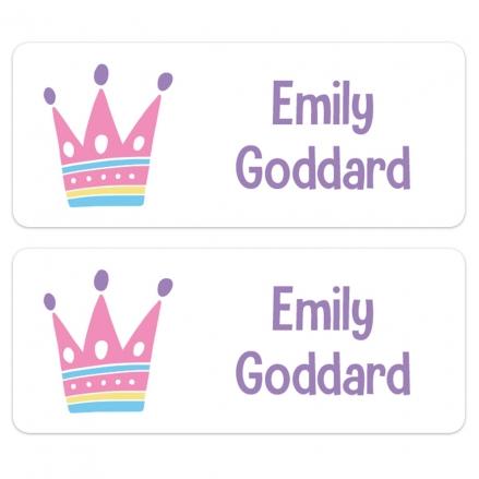 Personalised Stick On Waterproof (Equipment) Name Labels - Princess Crown - Pack of 30