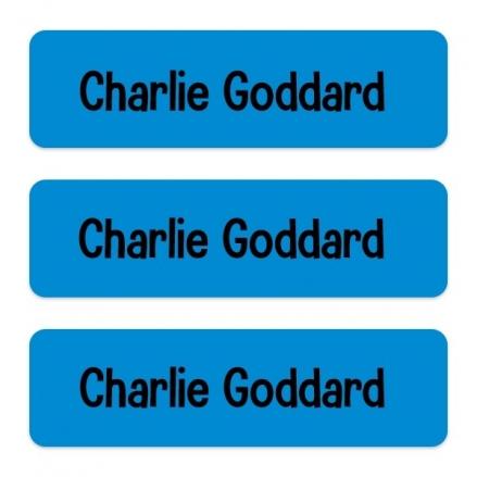 Medium Personalised Stick On Waterproof (Equipment) Name Labels - Blue - Pack of 42