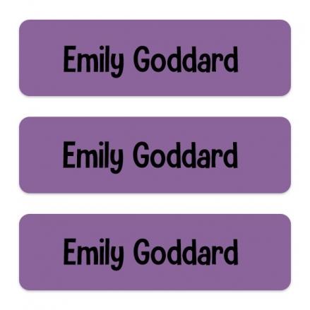 Medium Personalised Stick On Waterproof (Equipment) Name Labels - Purple - Pack of 42