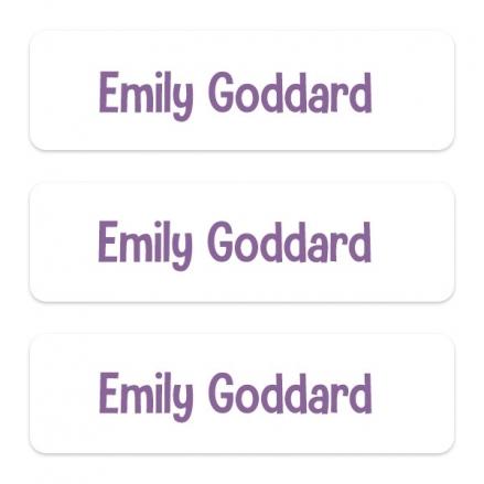 Medium Personalised Stick On Waterproof (Equipment) Name Labels - Purple Text - Pack of 42