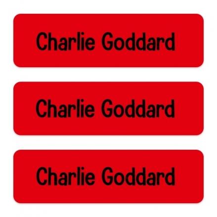 Medium Personalised Stick On Waterproof (Equipment) Name Labels - Red - Pack of 42