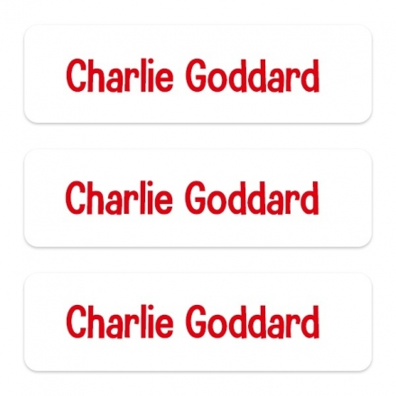 Medium Personalised Stick On Waterproof (Equipment) Name Labels - Red Text - Pack of 42