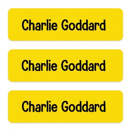 Medium Personalised Stick On Waterproof (Equipment) Name Labels - Yellow - Pack of 42