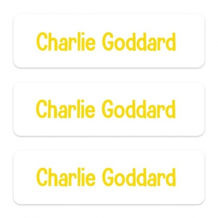 Medium Personalised Stick On Waterproof (Equipment) Name Labels - Yellow Text - Pack of 42
