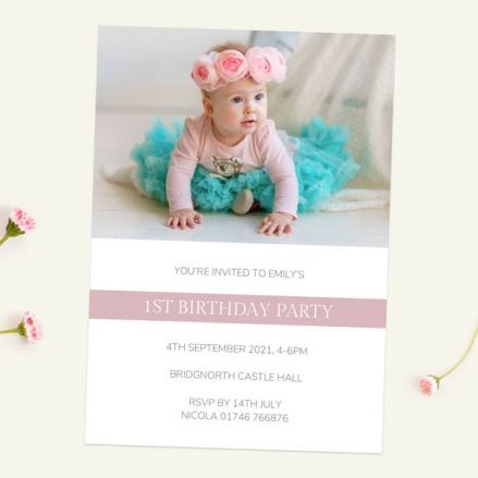 1st Birthday Invitations - Dusky Pink Photo Typography - Pack of 10