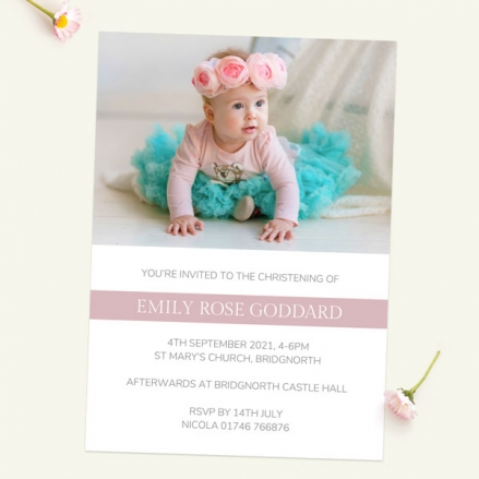 Christening Invitations - Dusky Pink Photo Typography - Pack of 10