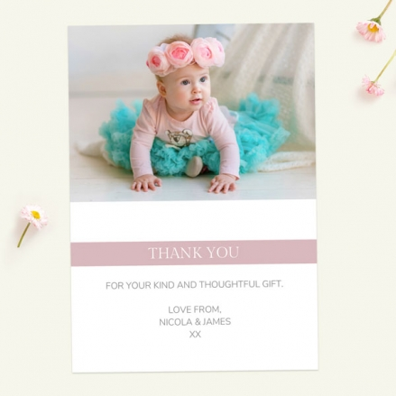 Thank You Cards - Dusky Pink Photo Typography - Pack of 10