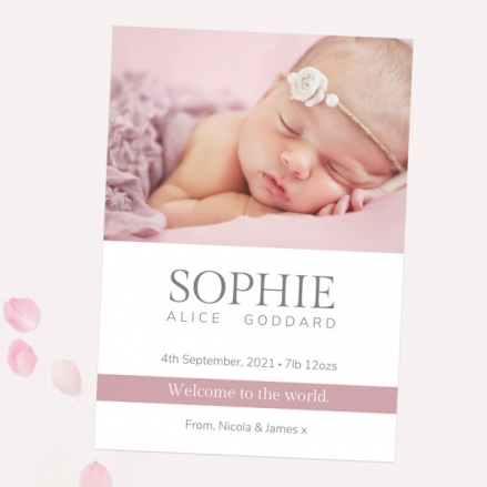 Baby Announcement Cards - Girls Photo Typography - Pack of 10