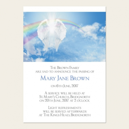 Funeral Announcement Cards - Heavenly Rainbow