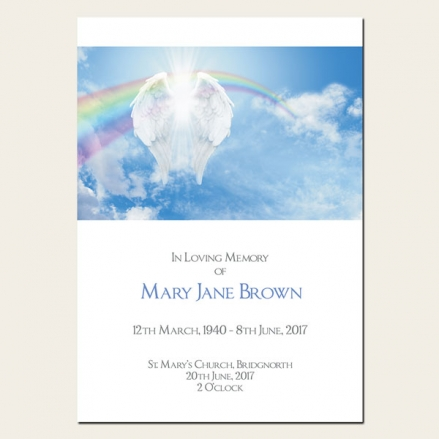 Funeral Order of Service - Heavenly Rainbow