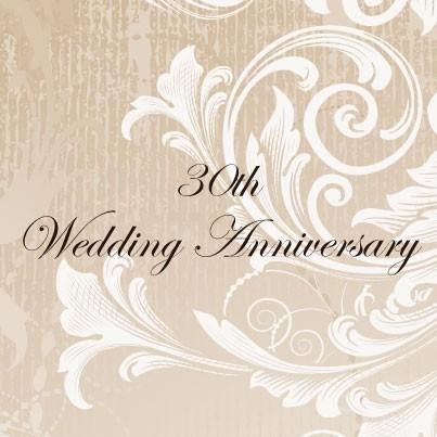 30th Wedding Anniversary Invitations - Eggshell White Swirls