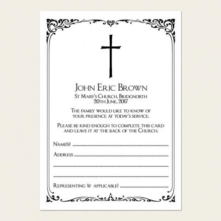 Funeral Attendance Cards - Elegant Border