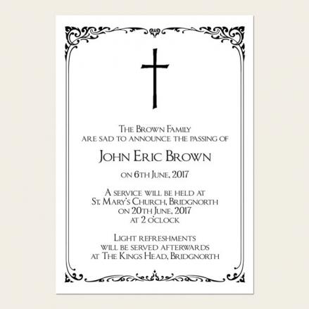 Funeral Announcement Cards - Elegant Border
