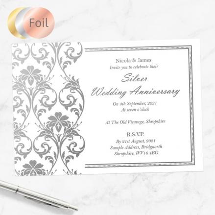 25th Foil Wedding Anniversary Invitations - Elegant Damask