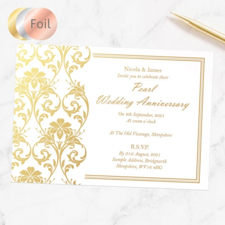 30th Foil Wedding Anniversary Invitations - Elegant Damask