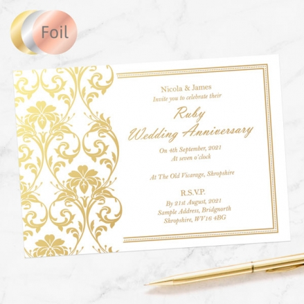 40th Foil Wedding Anniversary Invitations - Elegant Damask