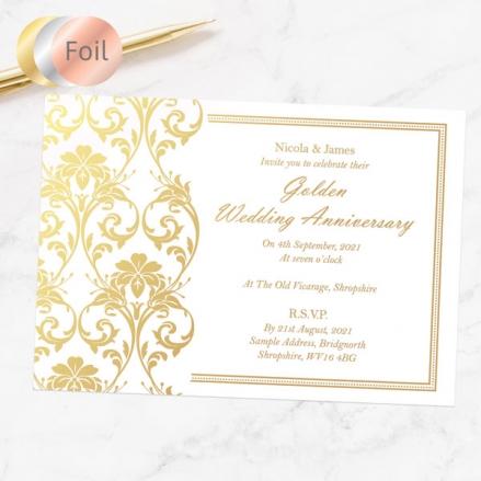 50th Foil Wedding Anniversary Invitations - Elegant Damask