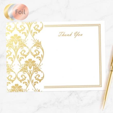 Foil Anniversary Thank You Cards - Elegant Damask