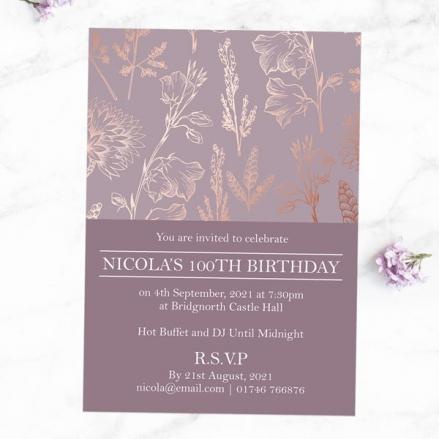 100th Birthday Invitations - Elegant Floral Pattern