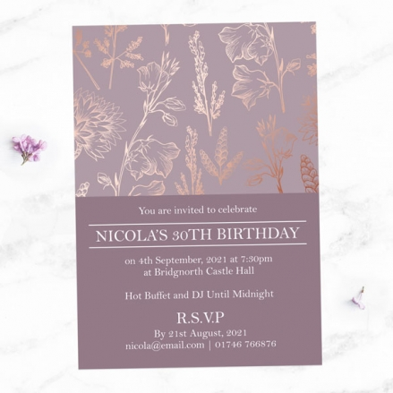 30th Birthday Invitations - Elegant Floral Pattern