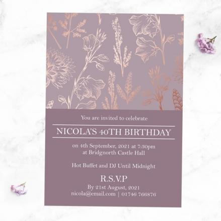 40th Birthday Invitations - Elegant Floral Pattern
