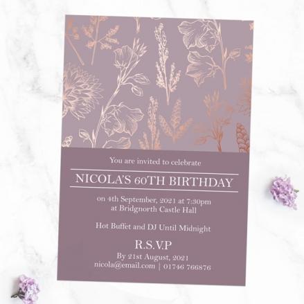 60th Birthday Invitations - Elegant Floral Pattern