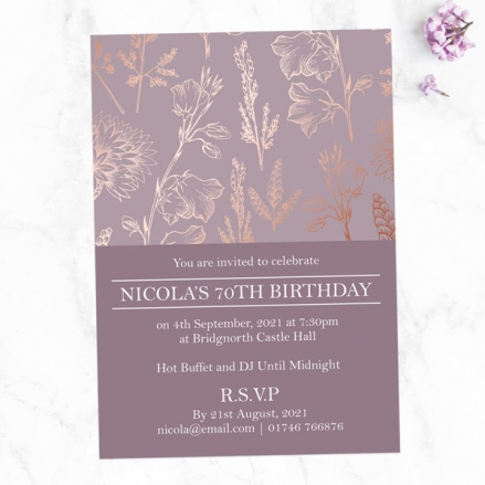 70th Birthday Invitations - Elegant Floral Pattern