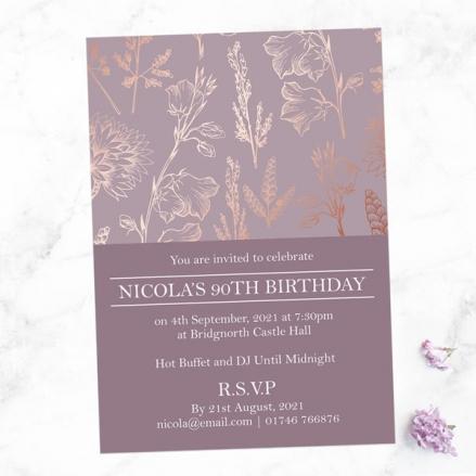 90th Birthday Invitations - Elegant Floral Pattern