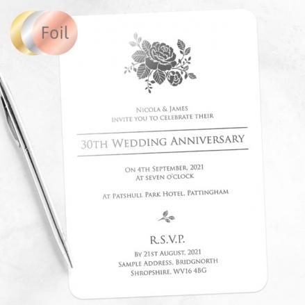 30th Foil Wedding Anniversary Invitations - Elegant Rose