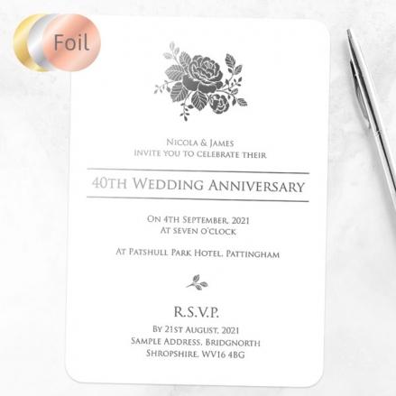 40th Foil Wedding Anniversary Invitations - Elegant Rose