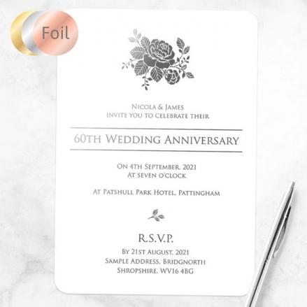 60th Foil Wedding Anniversary Invitations - Elegant Rose
