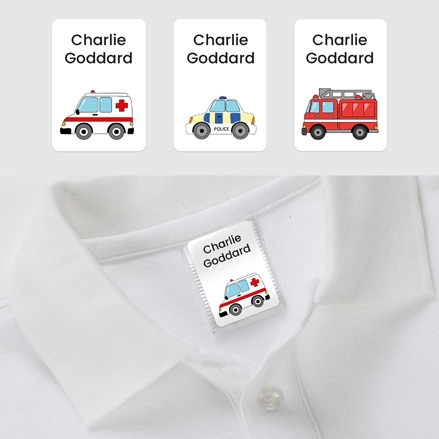No Iron Personalised Stick On Clothing Name Labels - Emergency Vehicles - Mixed Pack of 56