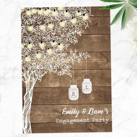 Engagement Party Invitations - Rustic Festoon Lights & Mason Jars