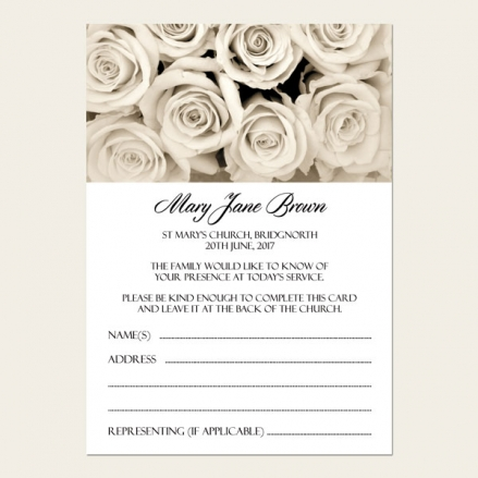 Funeral Attendance Cards - English Roses