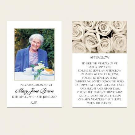 Funeral Memorial Cards - English Roses