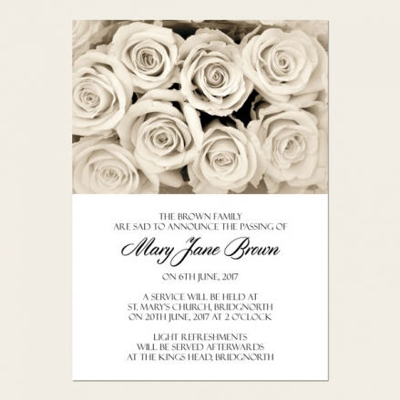Funeral Announcement Cards - English Roses