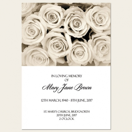 Funeral Order of Service - English Roses