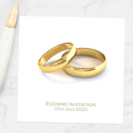 Add Your Names Gold Rings - Evening Invitations