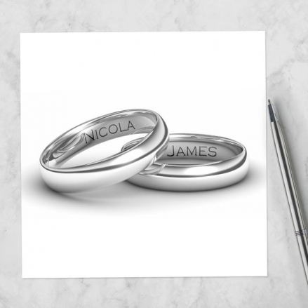 Add Your Names Silver Rings - Evening Invitations