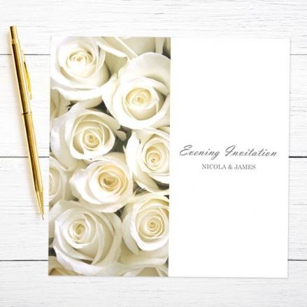 Cream English Rose - Evening Invitations