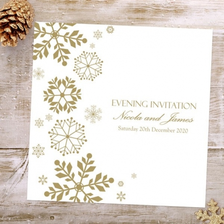 Falling Snowflakes - Evening Invitations
