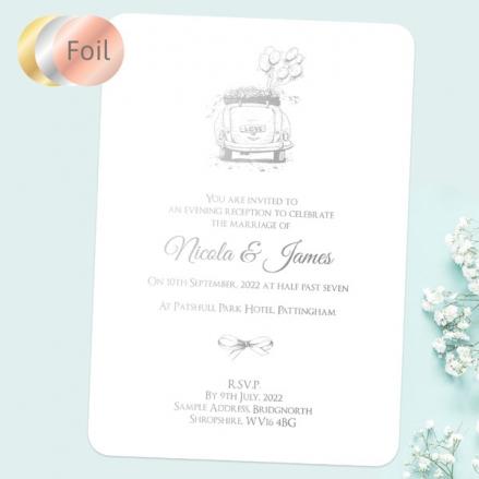 Vintage-Wedding-Car-Foil-Evening-Invitations