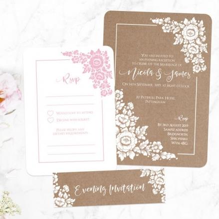Romantic Flowers - Boutique Evening Invitation & RSVP