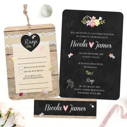 Rustic Chalkboard Flowers - Boutique Evening Invitation & RSVP