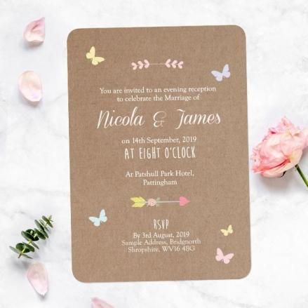 Rustic Pastel Butterflies - Evening Invitations
