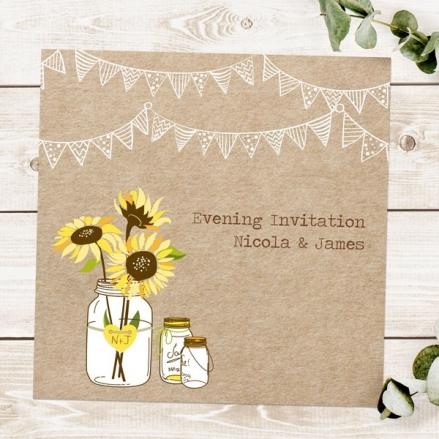 Rustic Sunflowers - Evening Invitations