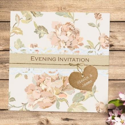 Shabby Chic Flowers - Evening Invitations