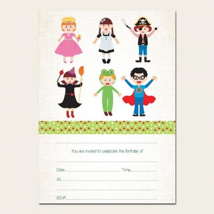 Ready to Write Kids Birthday Invitations - Fancy Dress - Pack of 10