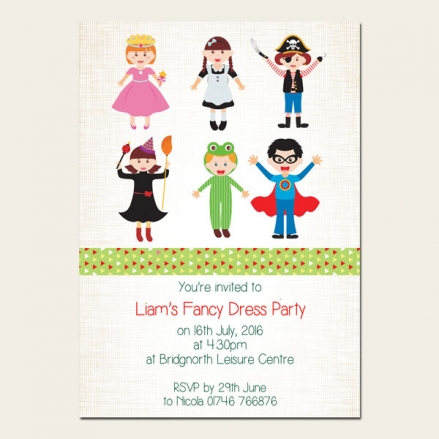 Personalised Kids Birthday Invitations - Fancy Dress - Pack of 10