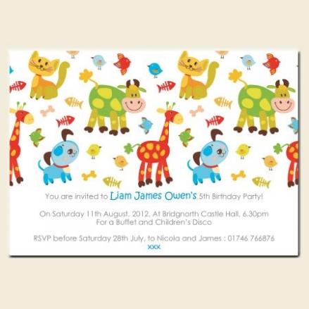 Personalised Kids Birthday Invitations - Farm Animals - Pack of 10